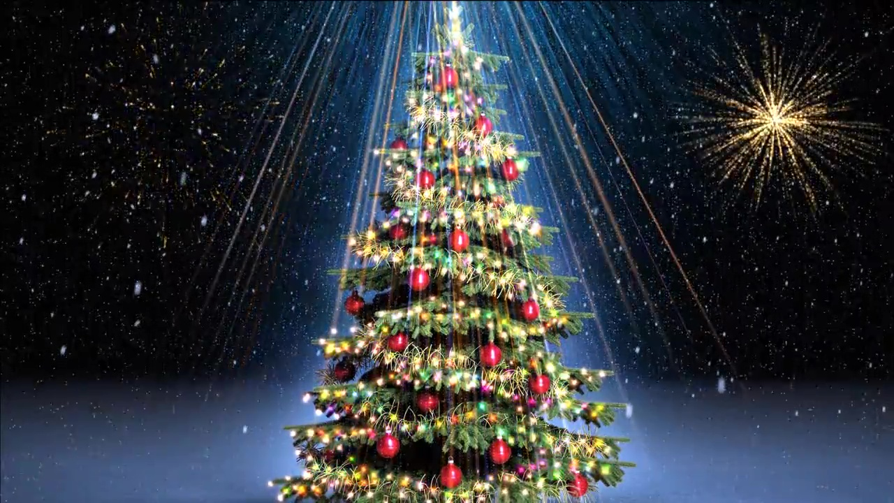 Christmas Video Background Anf Fireworks